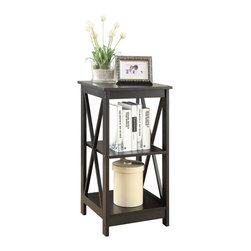 Convenience Concepts - Convenience Concepts Accent Table X-580302 - The Oxford End Table by Convenience Concepts is a great adition to any home. In a rich glossy black finish, it's sure to complement any home d&#233:cor. Featuring a middle and bottom shelf that provides plenty of space to display collectibles or every day necessities with ease of access. Coordinating pieces are also available, sold seperately