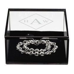 Home Decorators Collection - Monogram Antique Glass Shadow Jewelry Box - Our Monogram Antique Glass Shadow Jewelry Box offers you an elegant way to store and display your treasures. The glass case is framed in antiqued metal. A black velvet lining along the bottom makes rings, necklaces and other jewelry shine. Glass and metal with velvet insert. Available in two sizes. May be engraved with a diamond monogram at no additional cost.