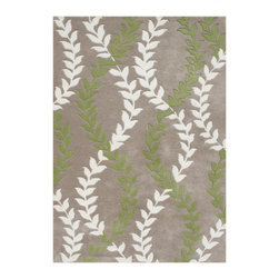 Alliyah Rugs - Warm Taupe & Parrot Green Transitional Rug - Alliyah Handmade New Zealand Blend Wool Rug With Warm Taupe, Parrot Green, Off White/Cream Color. Antique  Washed.