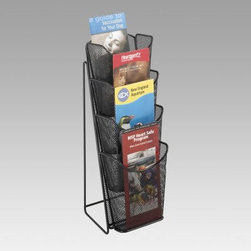 Onyx Mesh 4-Pocket Brochure Rack - Instead of scattering pamphlets on a table keep them neat and tidy with the Onyx Mesh 4-Pocket Brochure Rack. Crafted from sturdy steel mesh in a black finish this handy brochure rack allows your literature to be easily noticed and accessed. Four curved pockets keep brochures upright while the compact shape is easy to move and takes up little space on counters tables or desks. This rack is ideal for a reception area trade show booth front lobby or anywhere you need to display company or product information.About Safco ProductsSafco products were specifically developed to meet the changing needs of the business world offering real design without great expense. Each product is designed to fit the needs of individuals and the way they work by enhancing comfort and meeting the modern needs of organization in the workplace. These products encourage work-area efficiency and ultimately work-life efficiency: from schools and universities to hospitals and clinics from small offices and businesses to corporations and large institutions airports restaurants and malls. Safco continues to offer new colors new styles and new solutions according to market trends and the ever-changing needs of business life.