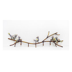 Birds on Twigs Wall Hanger - Our Birds on Twigs Wall Hanger is the attractive way to organize everything from coats to bags and so much more. Featuring cheerful birds frolicking around a horizontal wrought iron twig design with outstretch branches for you to hang your things from while finished in an antique gold color with silver leaf accent. This wall hanger is an exceptionally decorative and a useful home accent piece that can be used from your foyer to your bedroom.