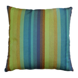 Pillow Decor - Pillow Decor - Sunbrella Astoria Lagoon Outdoor Pillow - Bold and beautiful stripes in greens, blues and soft brown combine naturally in the Sunbrella Astoria Lagoon 20x20 Throw Pillow. Made with Sunbrella Astoria Lagoon indoor/outdoor furniture fabric, this is the perfect pillow to reflect the colors of earth, sky, water and trees in your home, terrace or poolside patio. The Astoria Lagoon Pillow combines nicely with the Sunbrella Aruba and Dupione Deep Sea throw pillows.