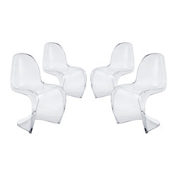 Modway - Slither Clear Dining Side Chair Set of 4 in Clear - Sleek and sturdy, rock back and forth in comfort with this injection molded marvel. Constructed from a single piece of strong ABS plastic, the s shaped Slither chair can be found in many fashionable settings. Perfect for dining areas in need of a little zest, the design is versatile, fun and lively. Surprisingly cushy, choose from a selection of vibrant colors that wont fade over time. Slither is also perfect for spaces short on room.