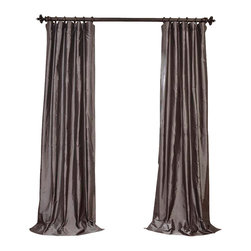 """Exclusive Fabrics & Furnishings - Steel Gray Dupioni Silk Curtain - SOLD PER PANEL . 100% Silk .Lined . 3"""" Pole Pocket with Hook Belt .Dry Clean Only ."""