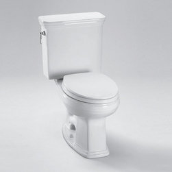 """Toto - Toto CST424EF#01 Cotton Eco Promenade Eco Promenade 1.28 GPF Two Piece - Product Features:  Two-piece configuration provides a classic look and allows for easier access to or around the toilet Elongated bowl gives a modern and comfortable look and feel extending out an extra 1-1/2"""" compared to a round configuration Covered under Toto s one year limited warranty Made from durable and easy-to-clean vitreous china Floor mounted installation type provides for fast and easy installation Gravity flush type is both easy to use and effectively clears waste ADA compliant WaterSense certified – toilet uses 20% less water than the current standard while maintaining superior performance  Product Technologies / Benefits:  E-Max Flush Technology: Based on Toto s legendary G-Max gravity flushing system, E-Max is designed to save water without sacrificing efficiency. This 1.28 GPF gravity flushing technology utilizes simple and efficient engineering to reduce the amount of water needed to clear waste.  Product Specifications:  Overall Height: 34-1/2"""" (measured from the bottom of the base to the highest point on the toilet) Overall Length: 28-1/4"""" (measured from the back of the tank to the front of the rim) Overall Width: 19-1/8"""" (measured from the furthest point on the left to the furthest on the right) Bowl Height: 16-1/8"""" (measured from the bottom of the base to the rim) Flow Rate: 1.28 GPF (gallons-per-flush) Water Area: 8-7/8"""" x 6-3/8"""" (inner rim dimensions length X width) Water Depth (From Rim): 5-1/2"""" Tank Width: 19-1/8"""" (measured from left most to right most points on tank) Trapway (Discharge Passageway) Size: 2-1/8"""" Distance Between Toilet Seat Installation Holes: 5-1/2""""  About Toto: For over 90 y"""