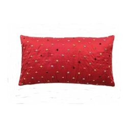 5 Surry Lane - Red Embroidered Multi Dot Lumbar Pillow - Twinkling like so many stars in the sky, a smattering of polka dots give this red pillow a festive touch. Filled with soft, fluffy down, it will add a huge dose of coziness to your home. Whether you settle in for a long winter's nap or just an occasional cat nap, you'll love snuggling up with this cheerful accent pillow.