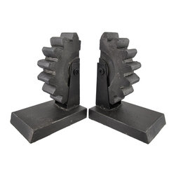 Zeckos - Pair of Metal Gear Bookends Cast Iron Finish - This awesome pair of bookends is a great addition to the home or office of any gearhead Made of cold cast resin and metal, each measures 5 inches long, 7 inches tall, and 3 1/2 inches wide. The cast iron finish makes them look like real gears, and highlights the details of the piece. The bottoms also have foam pads to protect delicate surfaces, so you can display them anywhere. They also make a great housewarming gift for a friend, and are sure to be admired.