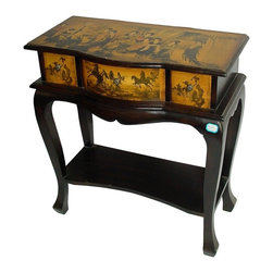 Oriental Unlimted - Oriental Ladies Tea Time Display Table - Include genuine Brass hardware, which is antiqued and finished to resist rust. Top of this display table is painted in the ladies at traditional tea design. 3 Drawers are adorned with galloping horses on an antique Yellow background. Built with mahogany and Elm wood. Antique-finished for a gorgeous authentic look. Painted panels often include lines of calligraphy and Red seals. Finished in a matte Black lacquer. 25.5 in. W x 13 in. D x 28 in. H