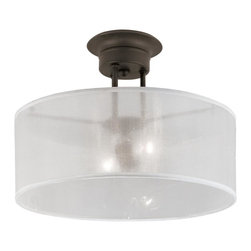 Joshua Marshal - Two Light Rubbed Oil Bronze Clear Ribbed Outer Frosted Inner Glass Light - Two Light Rubbed Oil Bronze Clear Ribbed Outer Frosted Inner Glass Light