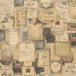 "Ddo32105B Tuscan Novelty Wine Label Wallpaper - DDO32105B is a brown , gold , black tuscan , novelty wallpaper.  This 20.5""/52 cm wide wallpaper is unpasted , acrylic coated."
