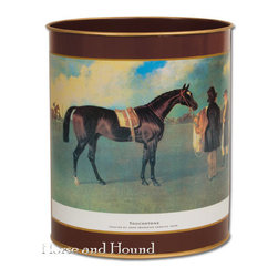 Thoroughbred Metal Waste Basket - Horse lovers tend to love the equestrian look in every room. If you know one, chances are they'll love this vintage racing scene waste basket.
