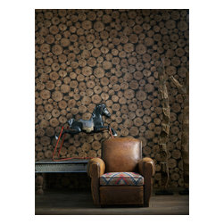 Kathy Kuo Home - Rustic Lodge Wooden Log  Ends Wallpaper, Timber - Timber! Woodsy, whimsical and sure to appeal to your inner Paul Bunyan, this wallpaper makes a striking — or is that chopping? — statement. Perfect for a cabin, man cave or any other truly rustic setting.