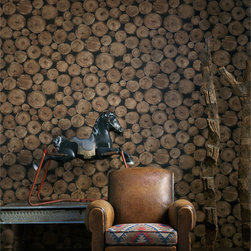 Kathy Kuo Home - Rustic Lodge Wooden Log  Ends Wallpaper - Timber - Timber! Woodsy, whimsical and sure to appeal to your inner Paul Bunyan, this wallpaper makes a striking — or is that chopping? — statement. Perfect for a cabin, man cave or any other truly rustic setting.