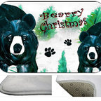 Bearrry Christmas Plush Bath Mat, 30X20 - Bath mats from my original art and designs. Super soft plush fabric with a non skid backing. Eco friendly water base dyes that will not fade or alter the texture of the fabric. Washable 100 % polyester and mold resistant. Great for the bath room or anywhere in the home. At 1/2 inch thick our mats are softer and more plush than the typical comfort mats.Your toes will love you.