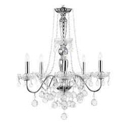 The Gallery - Elegant 5-Light Crystal chandelier Pendant Lighting Fixture Light Lamp - A Great European Tradition. Nothing is quite as elegant as the fine crystal chandeliers that gave sparkle to brilliant evenings at palaces and manor houses across Europe. This unique version from the Royal Collection features the 100% crystal that captures and reflects the light of the candle bulbs, each resting in a scalloped bob ache. The timeless elegance of this chandelier is sure to lend a special atmosphere in every home.
