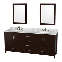"Wyndham Collection - Sheffield 80"" Espresso Double Vanity, Carrera Marble Top & Undermount Oval Sink - Distinctive styling and elegant lines come together to form a complete range of modern classics in the Sheffield Bathroom Vanity collection. Inspired by well established American standards and crafted without compromise, these vanities are designed to complement any decor, from traditional to minimalist modern. Available in multiple sizes and finishes."