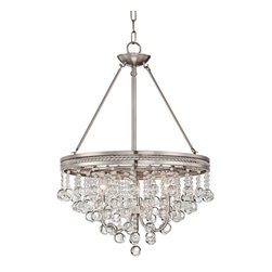 "Vienna Full Spectrum - Crystal Regina Brushed Nickel 19"" Wide Crystal Chandelier - The refined appeal of this chandelier is clear thanks to a cascade of clear crystal baubles that sparkle when illuminated. A trim of small crystal accents adds extra glamour. The understated frame is presented in a gleaming brushed nickel finish. A wonderful addition to dining and seating areas or try it in the bedroom for dramatic lighting. Brushed nickel finish. Clear crystal. Three maximum 60 watt or equivalent bulbs (not included). 26"" high. ""19 wide. Includes 12 feet of wire 6 feet of chain. Canopy is 5 1/4"" wide. Hang weight is 21 lbs.  Brushed nickel finish.  Clear crystal.  Three maximum 60 watt or equivalent bulbs (not included).  26"" high.  19"" wide.  Includes 12 feet of wire 6 feet of chain.  Canopy is 5 1/4"" wide.  Hang weight is 21 lbs."