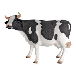 """EttansPalace - 22""""H Traditional Cow Scaled Statue - Because of their outstanding milk production, nine out of every ten dairy producers currently milk Holstein cows. With her spotted coat and wide-set eyes, our scaled dairy cow promises to stand prettily while bringing a friendly smile to home or garden! At over two feet long and artistically cast in quality fiberglass reinforced designer resin, this farm animal is meticulously hand-painted, from each black spot to each of her black tipped hooves. This large-scale, display-quality sculpture transforms any home, garden, restaurant or hotel into something truly magnificent!"""