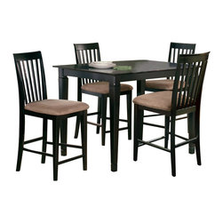Atlantic Furniture - Atlantic Furniture Montego Bay 5 Piece Pub Height Dining Set-Antique Walnut - Atlantic Furniture - Dining Sets - AD81121204