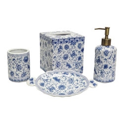 None - Blue and White Florettes Porcelain Bath Accessory 4-piece Set - This porcelain bath accessory set,with a white and blue floral pattern,will add a charming touch to any bathroom setting. This set includes a tissue box,soap dish,lotion dispenser and tumbler.