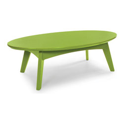Loll Designs - Satellite Cocktail Table Oval, Leaf Green - In the context of outdoor lounging, a Loll Satellite accent table is a recycled polyethylene object placed into orbit around humans resting in Loll Furniture. Unlike the moon, the Loll Satellite Table actually rotates in conjunction with the Earth and her inhabitants, at just over 1,000 miles per hour, but appears to be sitting still. We think it's time for you to have your very own Satellite... perfect for star gazing on black nights with warm breezes and cold drinks. All Loll Satellite Tables are made with heavy 1 inch thick 100 percent recycled plastic.