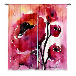 "DiaNoche Designs - Window Curtains Unlined - Kathy Stanion Floral 17 - DiaNoche Designs works with artists from around the world to print their stunning works to many unique home decor items.  Purchasing window curtains just got easier and better! Create a designer look to any of your living spaces with our decorative and unique ""Unlined Window Curtains."" Perfect for the living room, dining room or bedroom, these artistic curtains are an easy and inexpensive way to add color and style when decorating your home.  The art is printed to a polyester fabric that softly filters outside light and creates a privacy barrier.  Watch the art brighten in the sunlight!  Each package includes two easy-to-hang, 3 inch diameter pole-pocket curtain panels.  The width listed is the total measurement of the two panels.  Curtain rod sold separately. Easy care, machine wash cold, tumble dry low, iron low if needed.  Printed in the USA."