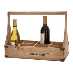 Benzara - Wood Wine Basket 18in.W, 14in.H Unique Home Accents - Made with treated wood Size: 18 in. x8 in. x14 in.