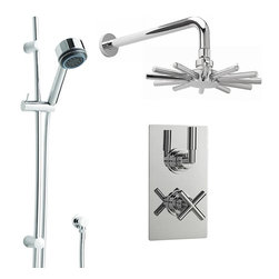 Hudson Reed - New Helix Dual Shower System With Chrome Cloudburst Rain Head Rail Kit & Handset - An attractive square chrome face plate and minimalist controls ensure that the Helix Twin Concealed Thermostatic Shower Valve, with Built-In Diverter, complements any modern bathroom or shower room. Constructed from brass, with modern ceramic disc technology, lever and cross head handles give you finger tip control of the temperature and flow of water to either the Cloudburst fixed shower head or slide rail kit.