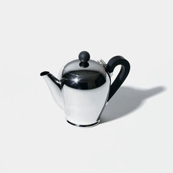 """Alessi Coffee and Tea - Alessi Coffee and Tea Bombe Coffee Pot - Coffee pot in 18/10 stainless steel with handle and knob in bakelite. Designed in 1945, this service was first produced in chrome-plated and silver-plated heavy brass, and later in stainless steel. """"The Bombé service is very much a product of the postwar sociocultural climate, and as such it's a specific phenomenon of the design and customs that are associated with the first age of Italian design, with walnut furniture, the curves of the Vespa, the Isetta bubble car, the first Arflex armchairs, and the typewriters designed by Marcello Nizzoli for Olivetti. Seen through modern eyes, it also suggests pop art and there are clear references to a """"rounded"""" morphological history of the coffee maker, from Christopher Dresser onwards."""" (Alessandro Mendini) Manufactured by Alessi. Designed in 1945."""