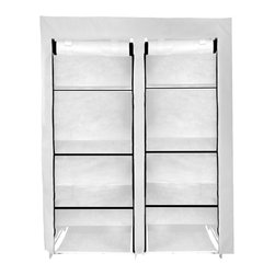 Florida Brands - 48 Inch Portable Closet with 8 Fabric Shelves - White - 48 Inch Portable closet , 8 fabric shelves, Durable frame, Improved cover strength, Breathable fabric cover to keeps clothes fresh, 2 Zippered front doors, Easy No tools assembly, measurers 62 x 48 x 20
