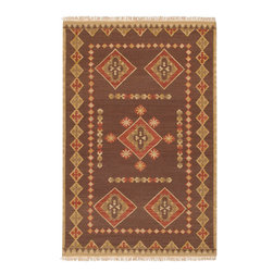 "Jewel Tone II JTII-2028 Brown Rug - 3'6""x5'6"" - Jewel Tone II JTII-2028 Brown: Traditional rugs inspired by Persian rugs, Antique Oriental rugs or other traditional area rugs are available now. ModernRugs. om is now also featuring traditional rug designs. Traditional Persian and Oriental rugs from ModernRugs. om are now available in a variety of colors and styles, and complement any space. Our traditional Persian rugs provide an elegant look. These Traditional antique Oriental rugs are timeless and add a touch of class to your home. This Southwestern area rug is Hand Woven in India with 100% Hard Twist Wool. The specific colors of this rug include Brown, Tan, Red/Coral Blend. he primary color of this rug is brown."