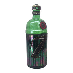 "Mosaic Liquor Bottle ""Tanqueary"" Up-cycled Decanter - Mosaic on up-cycled liquor bottle."