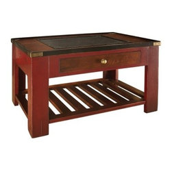 Authentic Models Gallery Shadow Box End Table - Red - Small-item collectors will love our Authentic Models Gallery Shadow Box End Table in red. This unique table has a nautical style with a pullout shadowbox drawer visible through a glass panel in the tabletop. A slatted lower shelf is ideal for storing larger items from your collection or collectors' books and magazines. Crafted from cherry wood this stunning end table has a rich red finish with brass accents. It adds a wonderful element to your decor and allows you to display your cherished collection. No assembly required. Dimensions: 31.7W x 21.7D x 18.3H inches.About Authentic ModelsAuthentic Models strives to create and distribute a comprehensive collection of historic and fine art reproductions worldwide. Haring Piebenga founded the company in 1968 and today Authentic Models is a European wholesale manufacturer with warehouses and corporate offices in Oregon and Amsterdam. The company pursues original items at auctions and uses these models for its design ideas. Each handmade item appeals to the human need for nostalgia intrigue and beauty by evoking a story from the past. High-quality construction using only the finest materials ensures that these charming pieces will become treasured heirlooms in their own right.