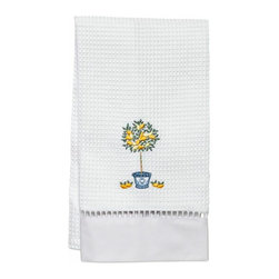 Jacaranda Living - Lemon Topiary Tree Waffle Weave Guest Towel - A stately, lemon, topiary tree shedding fruit, embroidered poignantly against a white background, is the focal point of this compelling towel. This simple yet memorable, waffle weave guest towel has been trimmed with ladder lace and cotton percale, and was made by Zulu women in South Africa, in a socially responsible environment. This is a towel you can feel good about hanging in your bathroom.