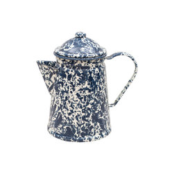 Crow Canyon Home - Coffee Pot, 6-Cup, Cream and Navy Splatter - Wake up, unzip your tent, and nestle this sturdy enamel coffee server into last night's embers to start the day off right. The durable enamel-coated steel heats quickly and ensures your beverage tastes pure and free of unwanted flavors.