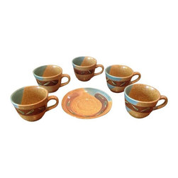 Pre-owned Vintage Japanese Tea Set - This vintage Japanese tea set is Asian Modern meets Boho with its textural ceramic finish and cool turquoise coloring. The set is unused, purchased in the 1980s in Japan and kept in storage since. This handmade high quality ceramic set comes in its original cardboard box which has minor blemishes.