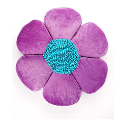 Stratford Home - Purple & Turquoise Petal Pillow - The bedroom sprouts new style and blooms into a garden of color with this fantastic petal pillow.   4'' D x 26'' diameter 100% polyester Spot clean Imported
