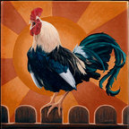 """Tile Art Gallery - Good Morning - Rooster Themed Accent Tile, 4.25 in - This is a beautiful sublimation printed ceramic tile entitled """"Good Morning"""" by artist Chantal Candon. The printed tile displays a rooster with a colorful sunrise background. Pricing starts at just $14.95 for a 4.25 inch tile."""