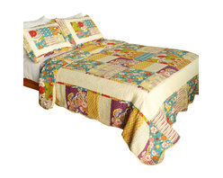 Blancho Bedding - [Memory Piano] 100% Cotton 3PC Vermicelli-Quilted Patchwork Quilt Set Full/Queen - The [Memory Piano] Quilt Set (Full/Queen Size) includes a quilt and two quilted shams. Shell and fill are 100% cotton. For convenience, all bedding components are machine washable on cold in the gentle cycle and can be dried on low heat and will last you years. Intricate vermicelli quilting provides a rich surface texture. This vermicelli-quilted quilt set will refresh your bedroom decor instantly, create a cozy and inviting atmosphere and is sure to transform the look of your bedroom or guest room. Dimensions: Full/Queen quilt: 90 inches x 98 inches; Standard sham: 20 inches x 26 inches.