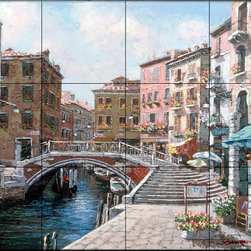 The Tile Mural Store (USA) - Tile Mural - Venezia - Kitchen Backsplash Ideas - This beautiful artwork by Sam Park has been digitally reproduced for tiles and depicts a colorful Italian water scene with a pedestrian walkway over the canal.  Our kitchen tile murals are perfect to use as part of your kitchen backsplash tile project. Add interest to your kitchen backsplash wall with a decorative tile mural. If you are remodeling your kitchen or building a new home, install a tile mural above your stove top or install a tile mural above your sink. Adding a decorative tile mural to your backsplash is a wonderful idea and will liven up the space behind your cooktop or sink.
