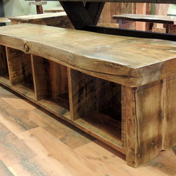 Barnwood Dining Room Furniture - Barnwood Bench with Storage Cubbies underneath :: Lonepine Lodgepole