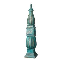 Lazy Susan - Copper Patina Fluted Obelisk - -Handcrafted