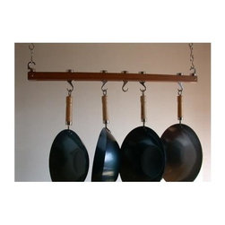Taylor and Ng - Track 36 in. Ceiling Pot Rack - Optional eight hanging links. Hanging. Made from bamboo, steel and cast aluminum. Rectangular shape. Burnished bamboo finish. Distance from ceiling: 22 in.. Hanging link: 1.13 in. L x 0.19 in. W x 3 in. H (0.38 lbs.). Pot rack with hooks and hanging links: 36 in. L x 4.50 in. W x 1.83 in. H. Pot rack: 36 in. L x 1.63 in. W x 1.50 in. H (4.40 lbs.). Includes mounting hardware, instructions booklet, two 36 in. bars, sixteen hanging links, six pan hooks, two ceiling mounting, two swivel and end hooks. Assembly required. Made in Taiwan. 360 degree swivel hooks. End hooks with connecting bolts to holds rack together. Mounts directly to ceiling wood joist 16 in. on centerMaximize your ceiling space to store all of your pots and pans. Steel Hanging Links to extend your pot rack from the ceiling.