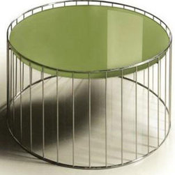 CONTEMPORARY GREEN ROUND GLASS TOP END TABLE KAMO -