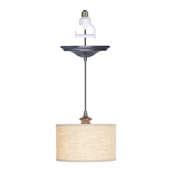 Instant Pendant Light, Linen Drum Shade, Brushed Bronze Adapter - Instant Pendant Light, linen drum shade, brushed bronze adapter