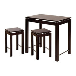 Winsome Trading, INC. - Winsome Wood 92734 Linea Three-Piece Kitchen Island Table Set - This 3-piece Kitchen island Table with stools, feature a large table in espresso finish with chrome accent. Sit on this great look stools. Perfect for any kitchen.