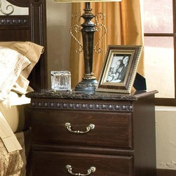 Standard Furniture - Sorrento Nightstand, Olympus Brown Finish - The Sorrento collection captures fashion and class through meticulous craftsmanship and attention to detail. Cast metal hardware encompasses a beautiful antique look with simulated brass finish. Simulated marble tops illustrate modern style and sophistication.