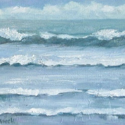Surf Series 11 (Original) by Jennifer Boswell - After a walk at Miramar Beach, I was inspired to paint the ocean. I love to paint seascapes because they're a serene and timeless subject. The sides of the canvas are painted so a frame is optional. Signed lower left.