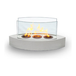Anywhere Fireplace - Lexington Tabletop Fireplace - Forget about candles and other table top accents toadd ambiance. The Lexingtonmodel AnywhereFireplacebrings you all the tabletop elegance you are looking for with its distinctive shape, high gloss whitefinish and its real flames. Easy to move to anywhere you want to enjoy the ambiance of a real fire but without the hassle of smoke, melting wax, soot, ash,smell etc. Use it on the dinner table ora coffee table. The possibilities are endless with the Lexington from Anywhere Fireplace. It will suit any decor and enhance any dinner party. Makes a great gift too. USES Bio-ethanal LIQUID FUEL for fireplaces.