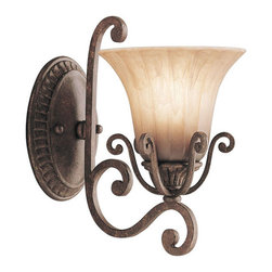 Kichler 1-Light Wall Mount - Carre Bronze - One Light Wall Mount. With a rich and historic look, the cottage grove collection embodies elegant design and fine craftsmanship. Although quite decorative, the cottage grove collection offers a more relaxed and informal feel. Our exclusive carre bronze finish with mocha wisp glass shades keep this family's antique ambiance, while remaining uniquely modern. To personalize these fixtures, Kichler offers melon swirl glass teardrop sets. They come by the dozen in 2 and 3 sizes and are the perfect accentuating touch to dress this family in crystal elegance. The 1 light cottage grove wall sconce adds a chic touch to the walls of your home with its classic styling. It uses a100-watt bulb, is 7 wide, and has a height of 11 .